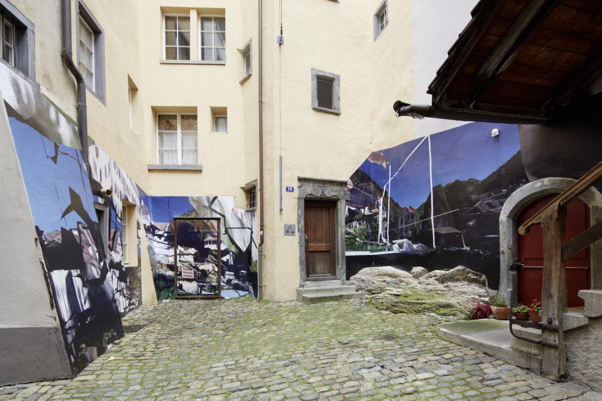 frölicher|bietenhader, «Aussichten aus einem Loch Weitblick», 2016·Inkjet-Print auf Wand